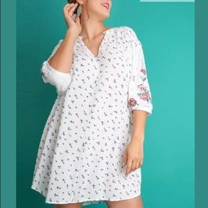 Umgee White Rose Floral Tunic Dress XL 1XL 2XL NEW